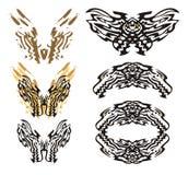 部族火焰状龙蝴蝶和稍圆龙框架 免版税库存图片