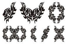 部族狮子翼标志 黑色白色 免版税图库摄影