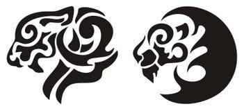 部族狮子头纹身花刺,传染媒介 免版税库存照片