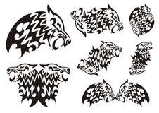 部族狼标志 黑色白色 免版税库存图片