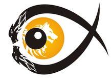 部族狼眼睛标志 免版税图库摄影