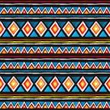 部族的模式 无缝的样式-在几何样式的部族装饰品与三角和条纹 水彩 图库摄影