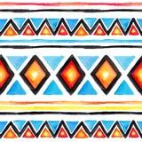 部族的设计 与部族样式的无缝的背景在boho样式 水彩 免版税库存照片