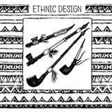 部族种族无缝 黑白颜色 对邀请,网,纺织品,墙纸,包装纸 皇族释放例证