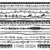 部族种族无缝 黑白颜色 对邀请,网,纺织品,墙纸,包装纸 免版税库存图片