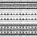 部族种族无缝 黑白颜色 对邀请,网,纺织品,墙纸,包装纸 免版税库存照片