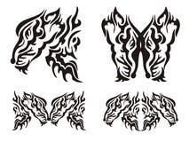 部族纹身花刺狂放的狐狸元素 免版税库存照片