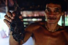 部族长辈Toikots儿子阿门洲骄傲地提出h的他的猴子头骨 库存照片