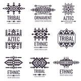 部族阿兹台克传染媒介样式 纹身花刺设计的印地安图表 皇族释放例证
