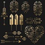 部族阿兹台克传染媒介金钢板蜡纸元素 向量例证