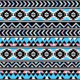 部族阿兹台克无缝的蓝色和桃红色样式 免版税库存照片
