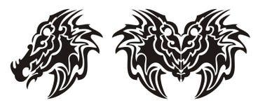 部族龙头标志和龙蝴蝶纹身花刺 免版税库存照片