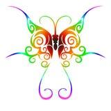 部族蝴蝶五颜六色的纹身花刺 免版税库存照片