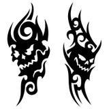 部族头骨的纹身花刺 免版税库存照片