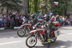 部的火巡逻的摩托车骑士紧急Situat 图库摄影