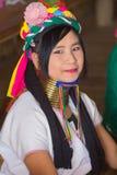 部落卡扬Padaung,缅甸的女孩 免版税库存照片