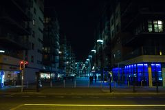 都伯林爱尔兰街道场面在晚上在港区区域 库存图片