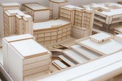 都市与优质的建筑学白色模型 免版税库存照片