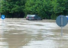 都市区的洪水 免版税库存照片