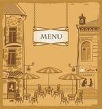 都市咖啡馆的菜单 图库摄影