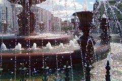 都市喷泉,细节,水滴  库存图片