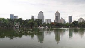 都市地平线,街市大厦在水中反射了 有一个湖的大绿色公园高层背景的  股票录像