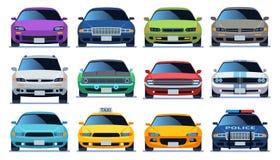 E 都市城市交通车模型汽车 驾驶平的传染媒介的警察和taxy颜色快速的自动交通 皇族释放例证