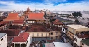 都市城市地平线,金边,柬埔寨,亚洲。 库存照片