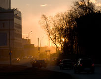 都市夜间的横向 免版税库存图片