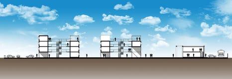 都市居民住房的部分 库存例证