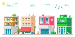 都市平的设计的门面 免版税库存照片