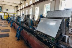 都市废水处理植物 污水滤清的机械从坚实杂质 免版税库存图片