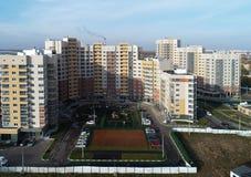 都市房地产鸟瞰图在Kutuzovo区,波多利斯克,俄罗斯 免版税库存图片