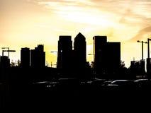 都市日落剪影 免版税图库摄影