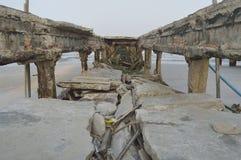 都市桥梁的爆破的细节,泰国 库存照片