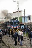 都市火车在圣何塞哥斯达黎加 免版税库存照片