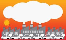从都市的大气污染 例证传染媒介设计 免版税库存照片