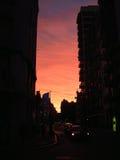 都市的日落 库存照片