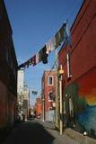 都市的晾衣绳 免版税库存照片