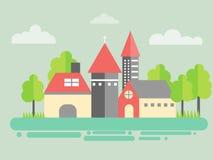 都市的横向 在平一个最低纲领派的样式的城市建筑学 与树的大厦 免版税库存照片