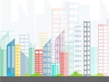 都市的横向 在平一个最低纲领派的样式的城市建筑学 与树的大厦 库存图片