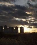 都市的横向 Kyiv高层建筑物剪影  免版税库存图片