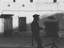 都市的骑自行车的人 库存照片