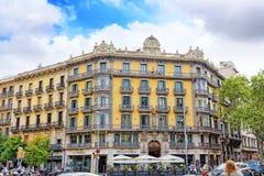 都市看法巴塞罗那的美好的历史风景, 免版税库存图片