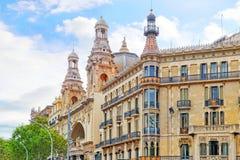 都市看法巴塞罗那的美好的历史风景, 库存图片