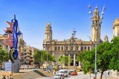 都市看法巴塞罗那的美好的风景, 库存照片