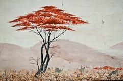都市艺术-在都市艺术的被隔绝的树-在大草原的被隔绝的树 免版税库存图片