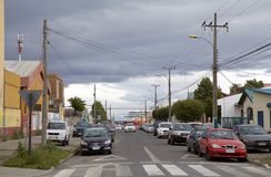 都市路在蓬塔阿雷纳斯,智利 库存照片