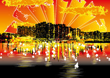 都市都市风景的grunge 免版税库存图片