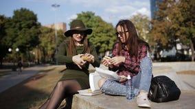 都市野餐在公园 两个女孩行家谈话和吃三明治 假日三明治 股票录像